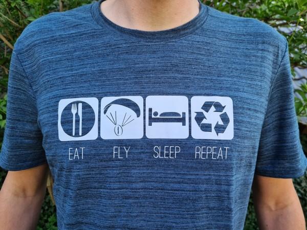 Herren T-Shirt Eat Fly Sleep Repeat Paramotor Motorschirm